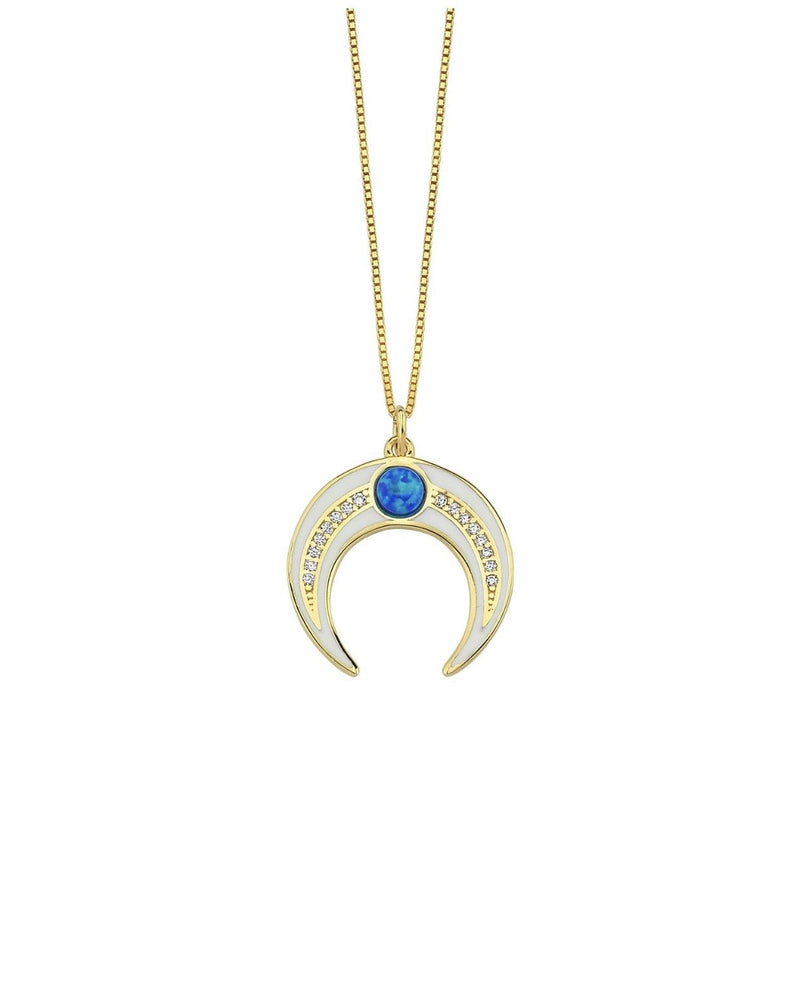 Blue Opal Enamel Horn Necklace JEWELRY The Sis Kiss