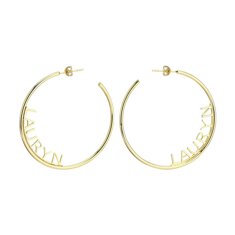 Custom Name Hoop Earrings JEWELRY The Sis Kiss Gold