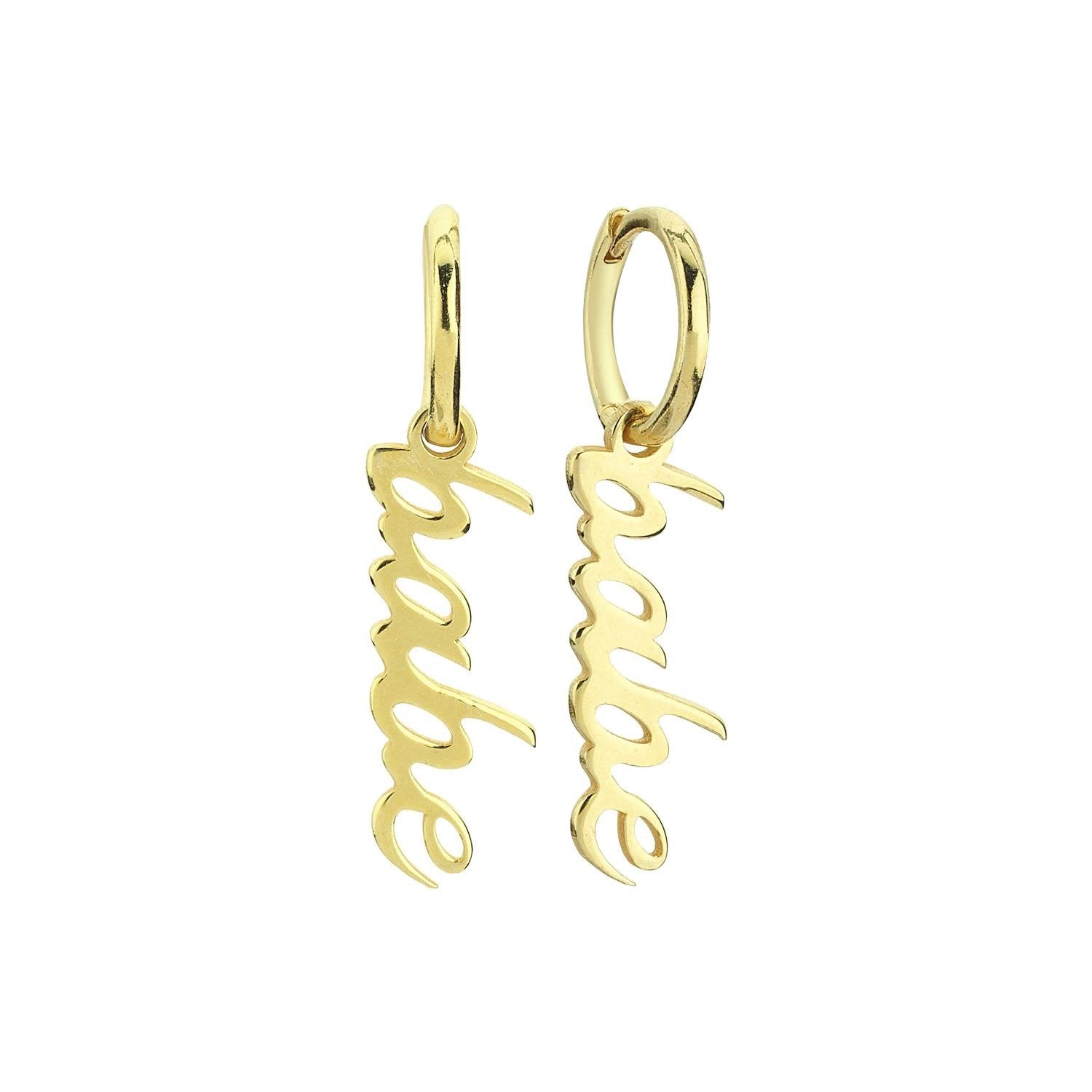 Babe dangle script earrings