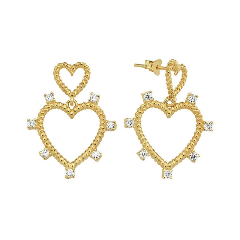 Heart Crystal Stud Earrings JEWELRY The Sis Kiss