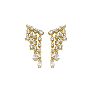 Crystal waterfall earring studs