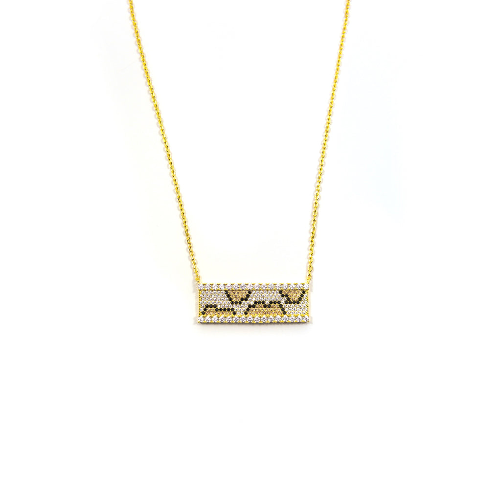 Leopard Swarovski Bar Necklace The Sis Kiss