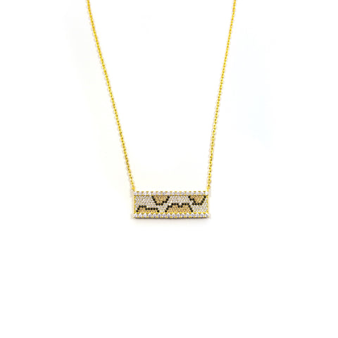 Leopard Swarovski Bar Necklace