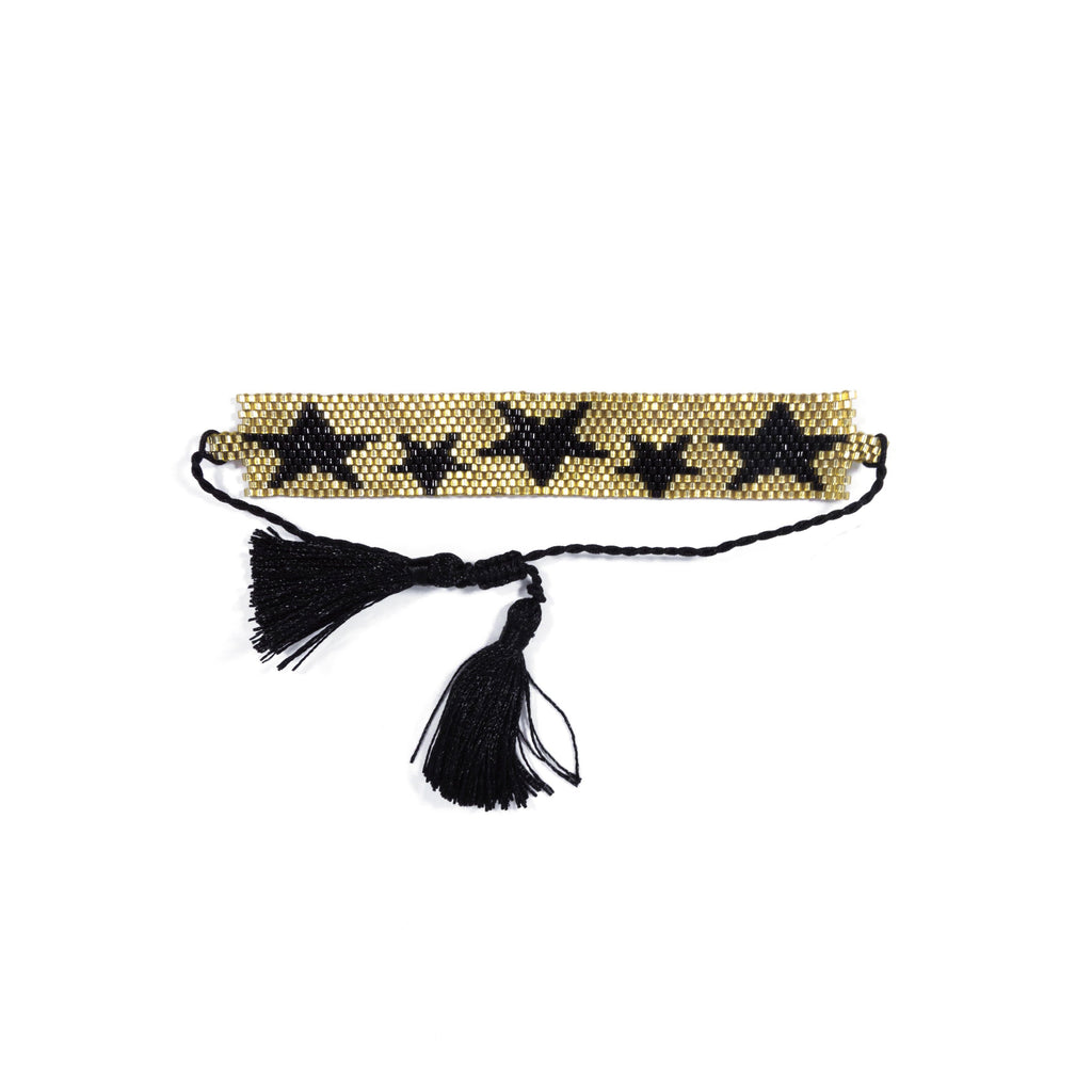 Star Beaded Bracelet JEWELRY The Sis Kiss Gold with black stars