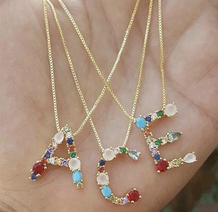 Jeweled Initial Necklaces The Sis Kiss