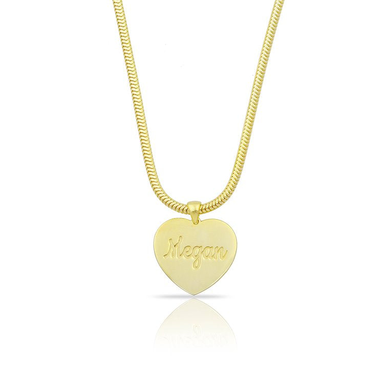Custom Scripted Heart on Snake Chain JEWELRY The Sis Kiss Gold