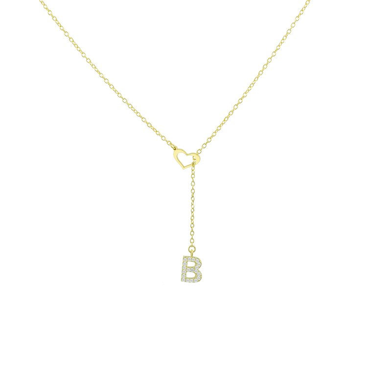 Heart Lariat Initial Necklace necklace The Sis Kiss B