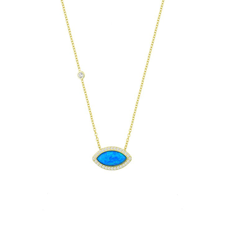 Blue Opal and Tiny Crystal Necklace necklace The Sis Kiss