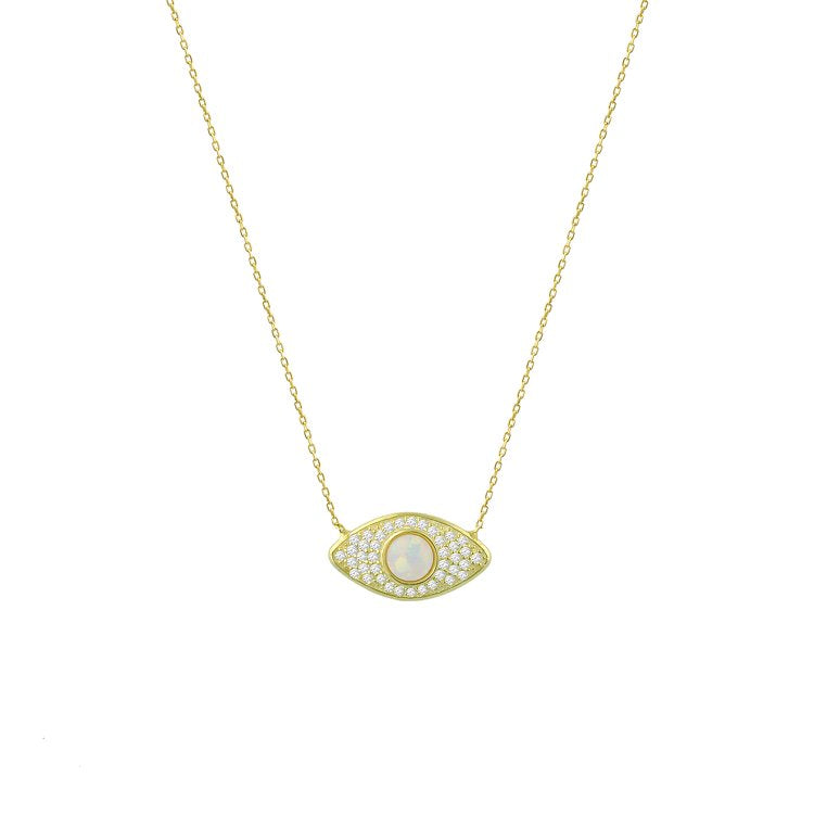 White Opal Evil Eye Necklace necklace The Sis Kiss
