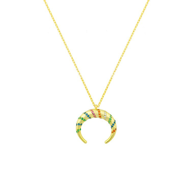 Rainbow Crystal Horn Necklace necklace The Sis Kiss