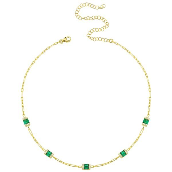 Five Stones Emerald Green Anklet ACCESSORY The Sis Kiss
