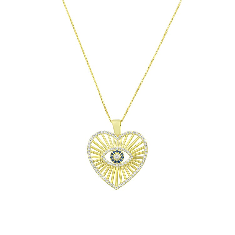 Radiant Heart and Evil Eye Necklace necklace The Sis Kiss