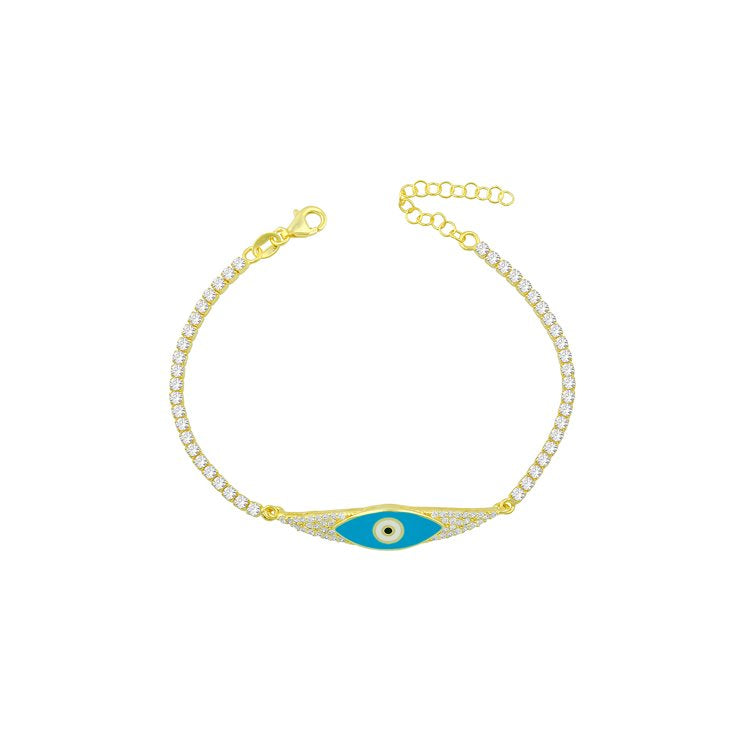 Turquoise Evil Eye and Crystal Bracelet JEWELRY The Sis Kiss