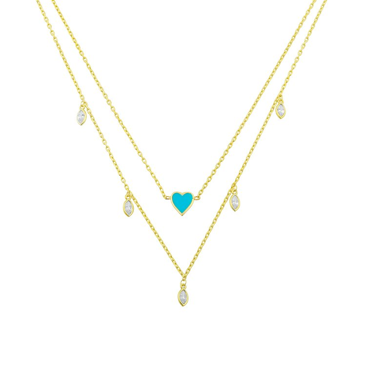 Teal Heart with Crystal Drop Layered Necklace necklace The Sis Kiss