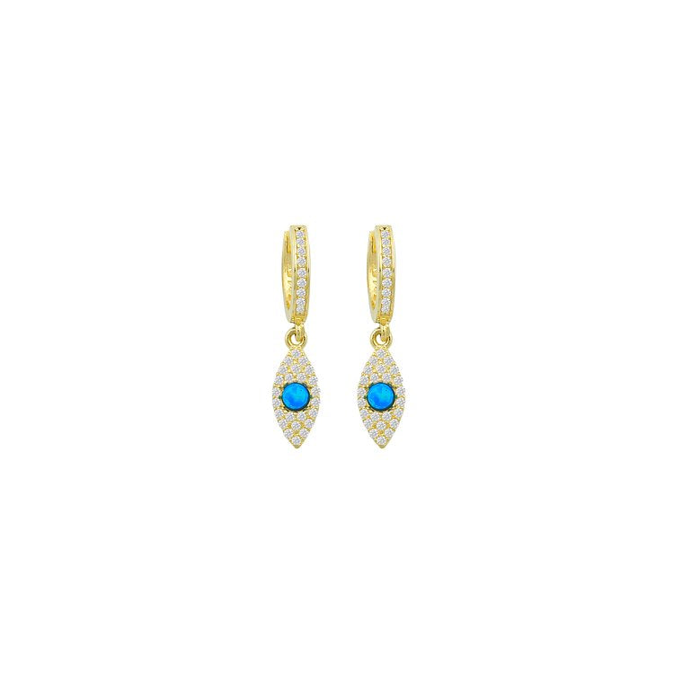 Vertical Evil Eye Huggies with Blue Opal JEWELRY The Sis Kiss