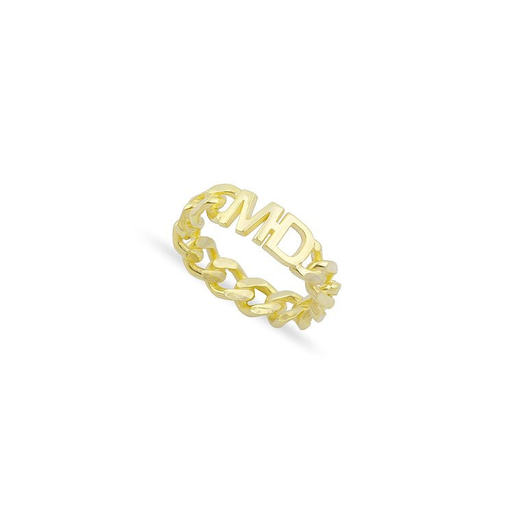 Custom Chain Link Initial Ring JEWELRY The Sis Kiss 5 Gold