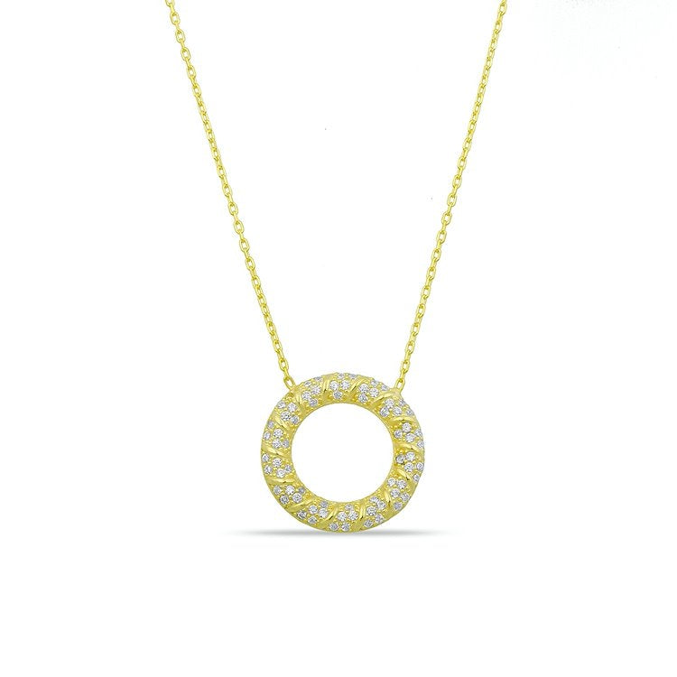 Pave Crystal Circle Pendant necklace The Sis Kiss