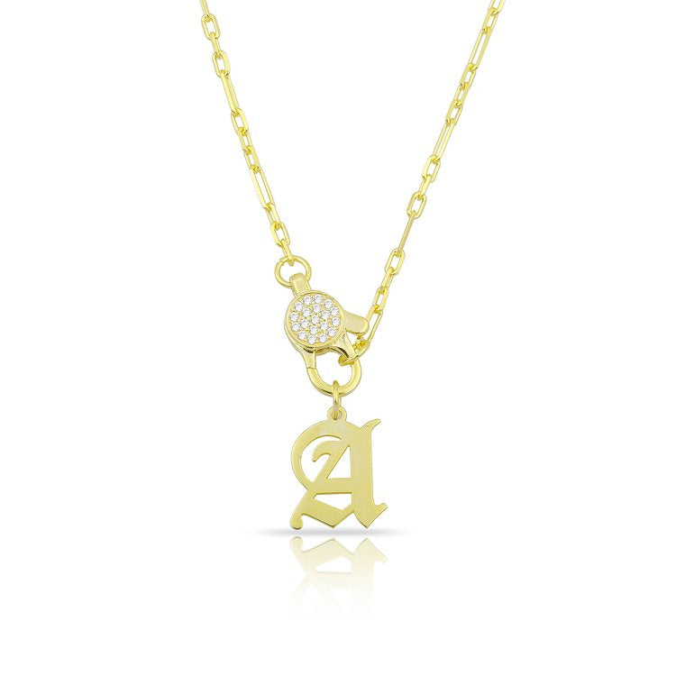 Custom Old English Initial Lock Pendant JEWELRY The Sis Kiss Gold