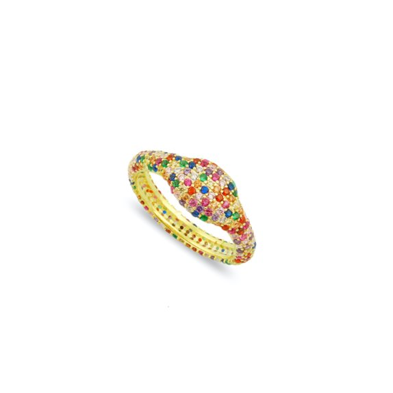Pave Crystal Rainbow Pinky Ring JEWELRY The Sis Kiss