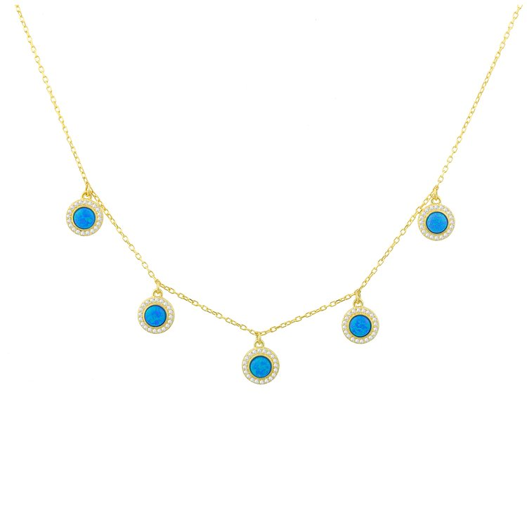 Five Blue Opal Charms Necklace necklace The Sis Kiss