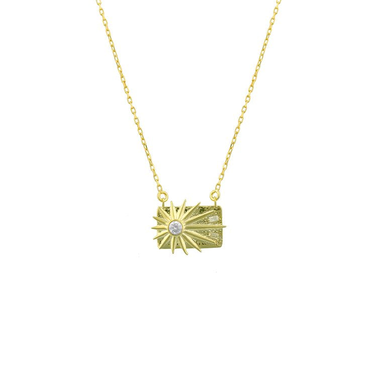 Rays of Sun Rectangle Pendant necklace The Sis Kiss