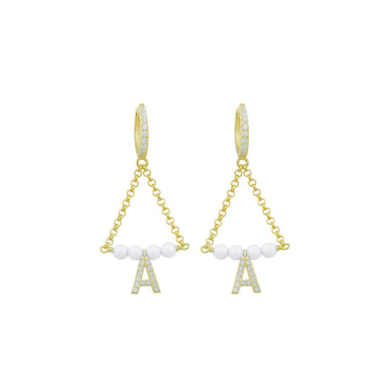 Custom Initial Pearl and Crystal Drop Earrings JEWELRY The Sis Kiss Gold