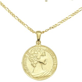 "Greek Goddess Coin Necklace - 15 necklace The Sis Kiss Greek Goddess 15"" Gold Gold"