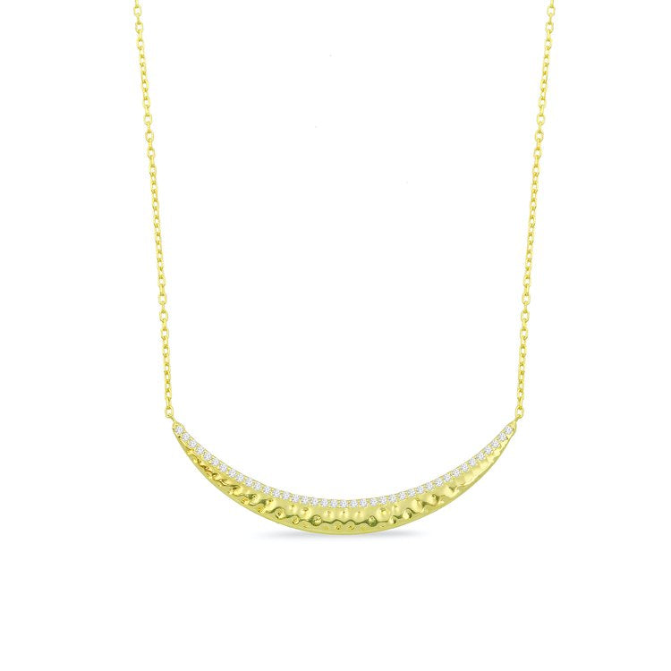 Crystal and Gold Curved Bar Necklace necklace The Sis Kiss