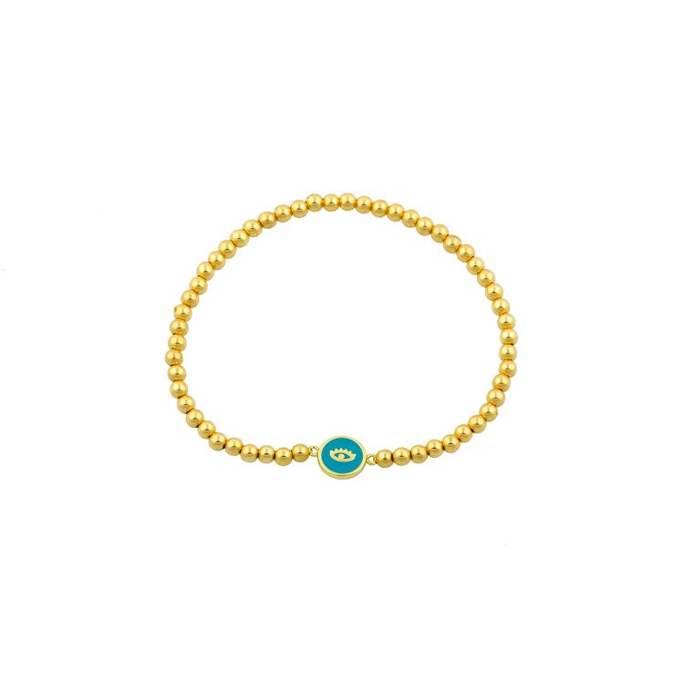 Evil Eye and Gold Bead Stretch Bracelet JEWELRY The Sis Kiss