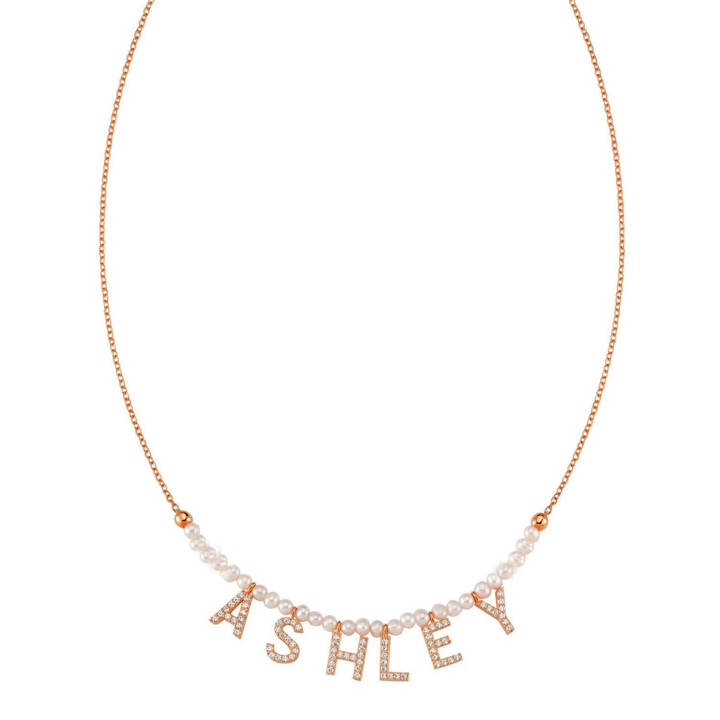 Custom Pearl It's All in a Name™ Necklace (No Hearts) JEWELRY The Sis Kiss Rose Gold