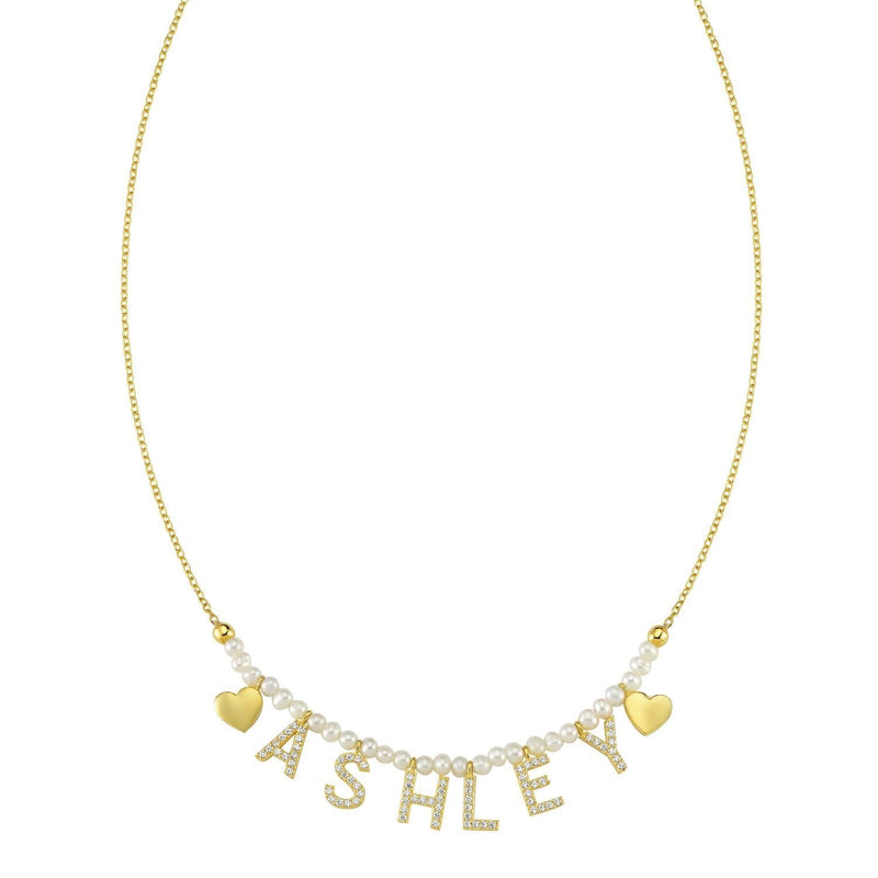 NON CUSTOMIZABLE Pearl, Gold It's All in a Name™ Necklace Ready to Ship JEWELRY The Sis Kiss