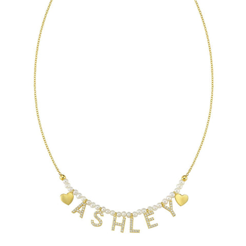 NON CUSTOMIZABLE Pearl, Gold It's All in a Name™ Necklace Ready to Ship