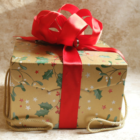 christmas greetings gift box with handles