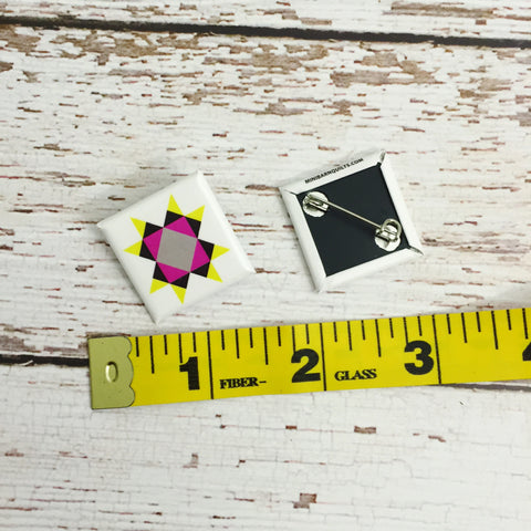"1"" Quilt Block Pinback Button"