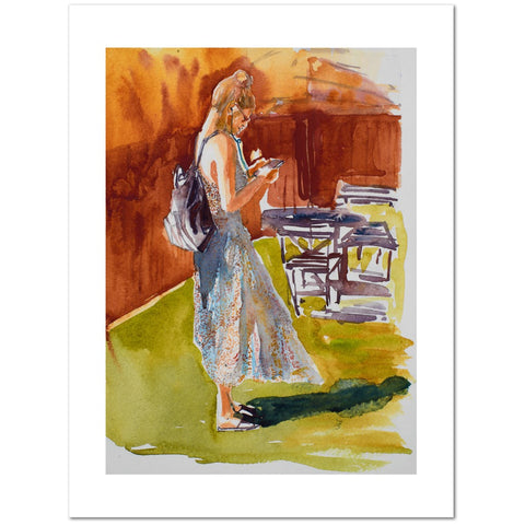 Print with white border of colorful watercolor painting in warm colors of a woman with purse looking down at her mobile phone in a room