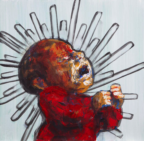 Painting of a baby screaming in warm shadows on stark white background with geometric burst around head