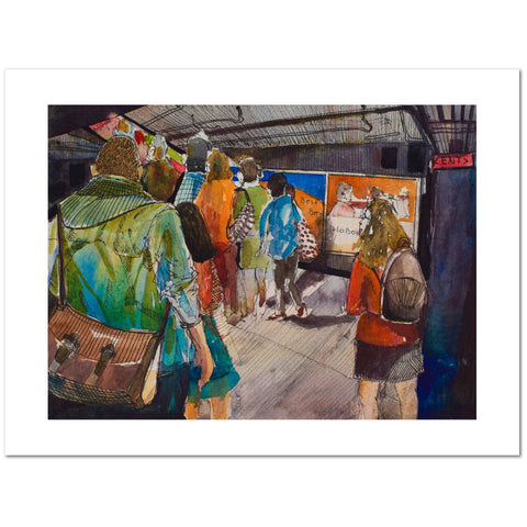 Print of a watercolor of a woman looking on at commuters in the Hoboken PATH terminal