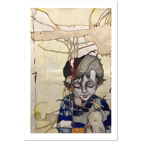 Abstract watercolor of boy looking down at knee with small bird on it on beige background