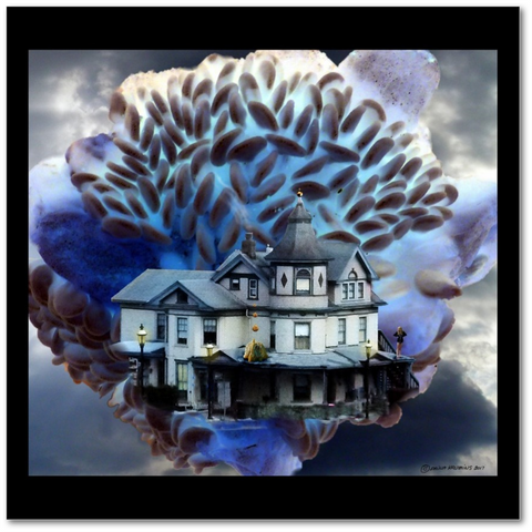 Surealist photomontage with black border of a house within a large blue flower