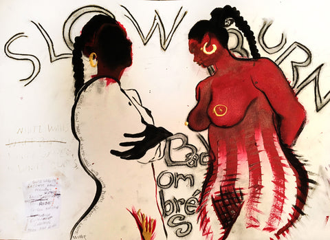 "Painting of two female figures in red with letters written ""SLOW BURN"" on the white background"