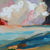Cropped Detail of abstract painting of cloud shapes in blues, oranges, and dark colors