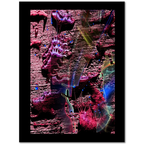Photo print with black border with surrealistic colorful blobs on a gray stone surface