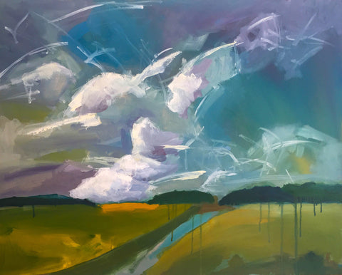 Painting of a landscape with lively and loosely painted clouds over green land