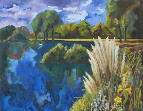 Painting with bright blues and greens of pond with cattails in the foreground and trees in the background