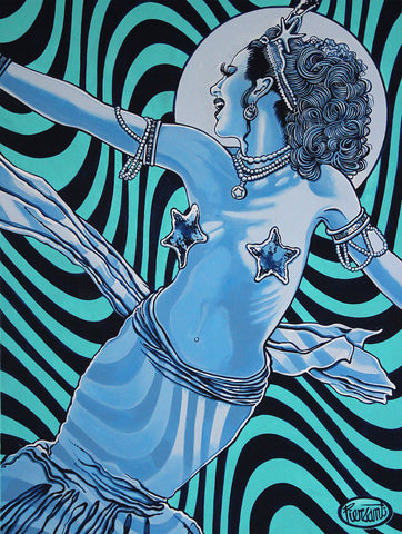Pop painting of blue mermaid on wavy striped background