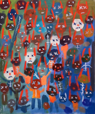 Painting of many stylized stick-like bunny people with Xs for eyes and frowny faces on colorful background