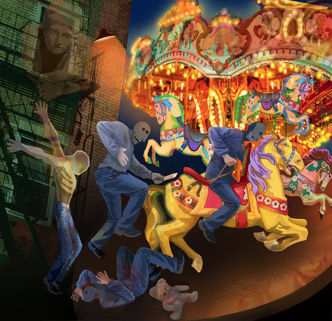 Allegorical digital illustration of masked figures around a carousel