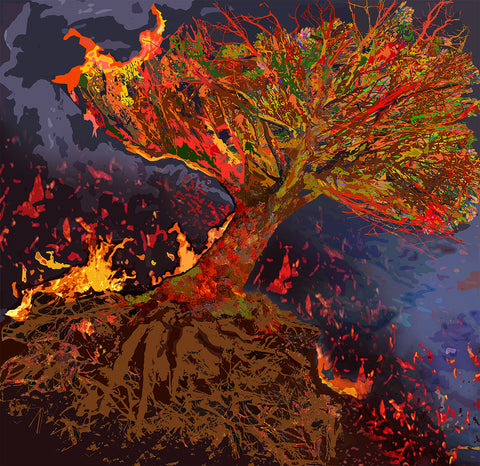 Vector digital painting of burning tree against dark sky