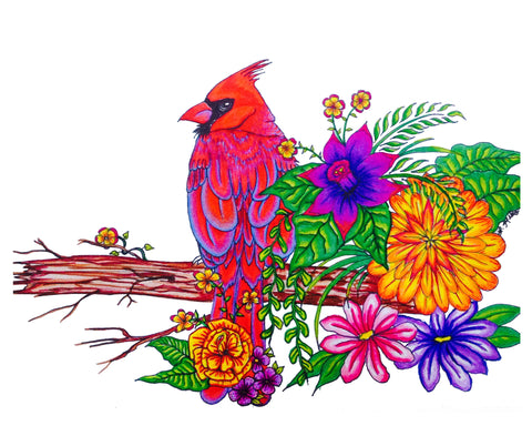Print of illustration of red cardinal perched on twig with differnt colorful flowers on white background