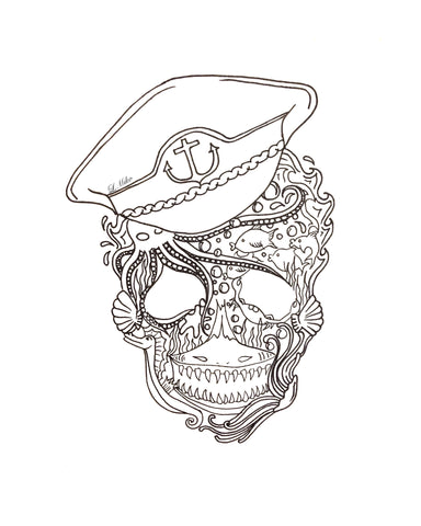 Black and white illustration of a barnicle covered skull with captains hat